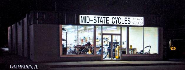Mid-State Cycles Store Front at Night